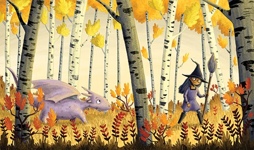 Amberin Huq Illustration - Amberin Huq, Amberin, Huq, illustration, pencil, drawing, photoshop, colour, colourful, digital, commercial, mass market, fiction, witch, girl, person, character, animal, dragon, woods, forest, trees, broom, friends, leaves, plants, nature, autumn, fall