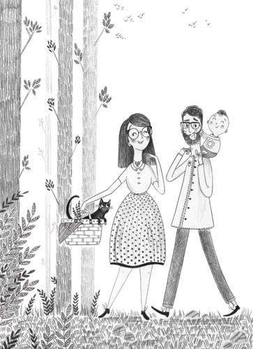 Ashley King Illustration - ashley, king, ashley king, illustrator, fiction, picture book, mass market, young reader, YA, traditional, pen, black and white, b+w, people, parents, mum, dad, baby, kitten, basket, woods, walk, happy, family, trees, leaves, picnic