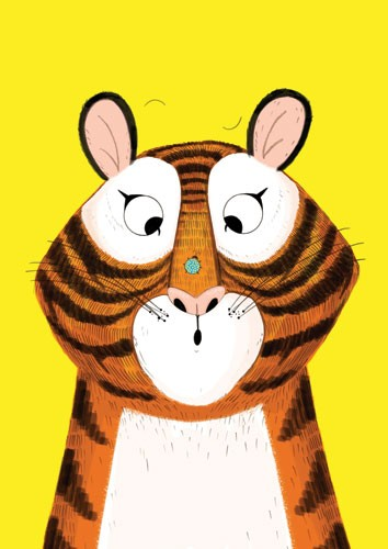 Ashley King Illustration - ashley, king, ashley king, illustrator, fiction, picture book, mass market, young reader, YA, coloured crayon, colour, black line, mark making, block colour, felt tip, animal, animals, tiger, insect, ladybird, humour,