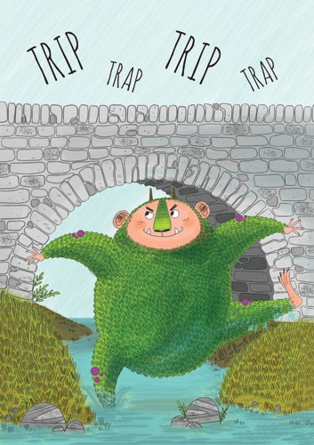 Ashley King Illustration - ashley, king, ashley king, illustrator, fiction, picture book, mass market, young reader, YA, traditional, black line, colour, ogre, bridge, monster, grass, river, scary
