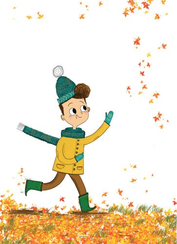 Ashley King Illustration - ashley, king, ashley king, illustrator, fiction, picture book, mass market, young reader, YA, boy, child, person, figure, figurative, colour, digital, leaves, autumn, seasonal, cute, sweet