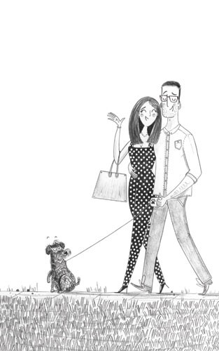 Ashley King Illustration - ashley, king, ashley king, illustrator, fiction, picture book, mass market, young reader, YA, traditional, pen, black and white, b+w, people, couple, woman, man, love, dog, walk, polka dots, happy