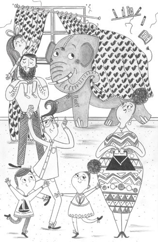 Ashley King Illustration - ashley, king, ashley king, illustrator, fiction, picture book, mass market, young reader, YA, traditional, pen, black and white, b+white, people, person, figures, figurative, children, child, boy, girl, house, animal, funny, humour, pattern,