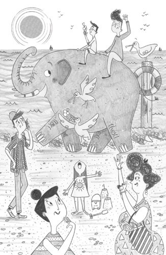 Ashley King Illustration - ashley, king, ashley king, illustrator, fiction, picture book, mass market, young reader, YA, traditional, pen, black and white, b+w, people, person, girl, child, elephant, animal, detail, pencil, lady, humour, funny, seaside, water, beach, sand, boy, chi