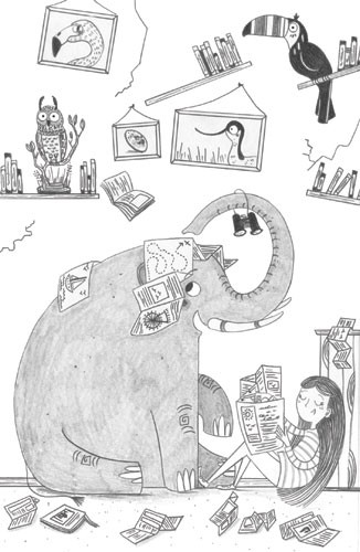 Ashley King Illustration - ashley, king, ashley king, illustrator, fiction, picture book, mass market, young reader, YA, traditional, pen, black and white, b+w, people, person, girl, child, elephant, animal, detail, pencil, mischievous, cheeky, bird