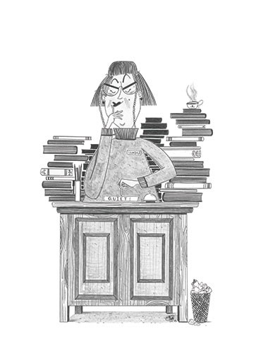 Ashley King Illustration - ashley, king, ashley king, illustrator, fiction, picture book, mass market, young reader, YA, traditional, pen, pencil, pattern, black line, black and white, b+w, librarian, scary, books, library, kids, children