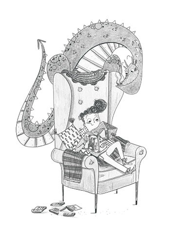 Ashley King Illustration - ashley, king, ashley king, illustrator, fiction, picture book, mass market, young reader, YA, traditional, pen, pencil, pattern, black line, black and white, b+w, colour, boy, dragon, chair, friends, reading, humour