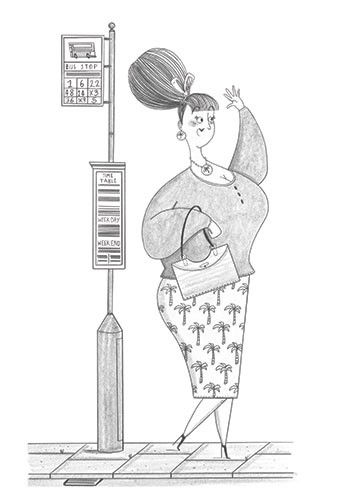 Ashley King Illustration - ashley, king, ashley king, illustrator, fiction, picture book, mass market, young reader, YA, traditional, pen, pencil, pattern, black line, black and white, b+w, woman, waving, bus, bus stop, friendly, humour,