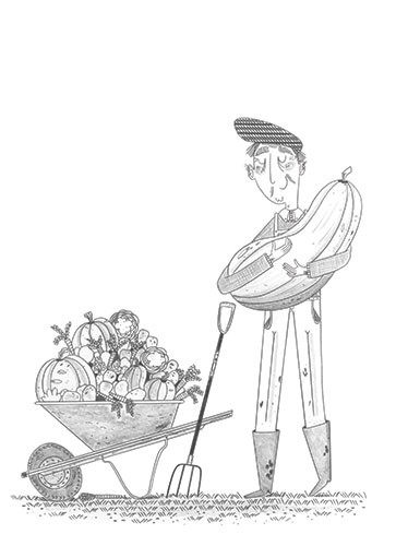 Ashley King Illustration - ashley, king, ashley king, illustrator, fiction, picture book, mass market, young reader, YA, traditional, pen, pencil, pattern, black line, black and white, b+w, man, farm, wellies, farmer, marrow, farming, vegetable, vegetables,