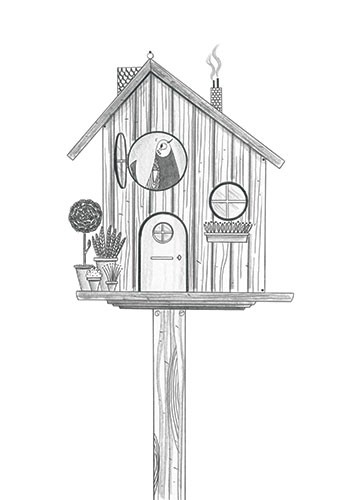 Ashley King Illustration - ashley, king, ashley king, illustrator, fiction, picture book, mass market, young reader, YA, traditional, pen, pencil, pattern, black line, black and white, b+w, bird house, bird, windows, plants, home, cute, sweet, cosy