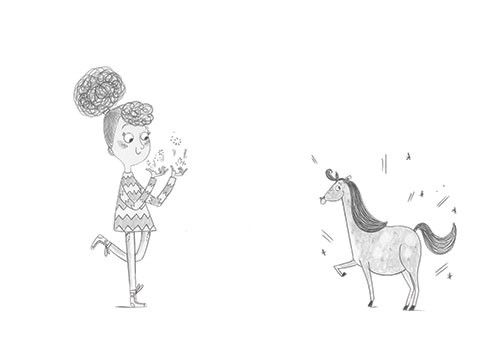 Ashley King Illustration - ashley, king, ashley king, illustrator, fiction, picture book, mass market, young reader, YA, traditional, pen, black and white, b+w, people, girl, unicorn, click, magic