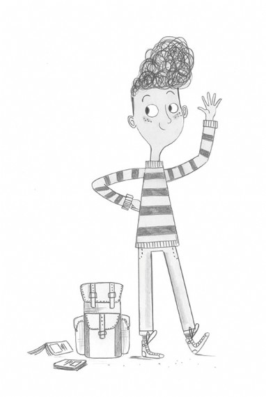 Ashley King Illustration - ashley, king, ashley king, illustrator, fiction, picture book, mass market, young reader, YA, traditional, pen, black and white, b+white, boy, books, bag, rucksack, school, murph, cooper, character, cool, stripes