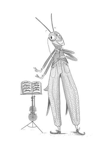 Ashley King Illustration - ashley, king, ashley king, illustrator, fiction, picture book, mass market, young reader, YA, traditional, pen, black and white, b+white, insect, cricket, grasshopper, character, violin, music, notes, reading, suit, humour, funny