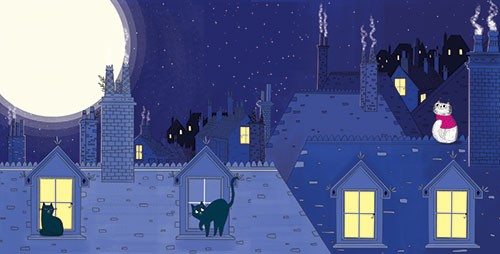 Ashley King Illustration - ashley, king, ashley king, illustrator, fiction, picture book, mass market, young reader, YA, traditional, pen, pencil, pattern, black line, block colour, colour, digital, photoshop, illustrator, landscape, rooftops, buildings, home, houses, cats, kittens, night, moonlight