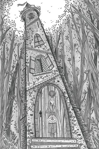 Ashley King Illustration - shley, king, ashley king, illustrator, fiction, picture book, mass market, young reader, YA, coloured crayon, black and white, witch, forest, trees, tower, detailed, black line