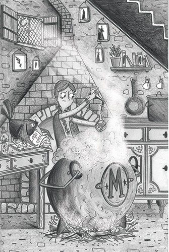 Ashley King Illustration - shley, king, ashley king, illustrator, fiction, picture book, mass market, young reader, YA, person, child, girl, black and white, b+w, detailed, witch