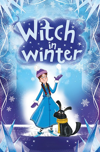 Ashley King Illustration - ashley, king, ashley king, illustrator, fiction, picture book, mass market, young reader, YA, colourful, colour, black line, mark making, colourful, girl, dog, pet, witch, cover, winter, seasonal, festive, christmas, snow, snowflakes, hat, scarf, snowball