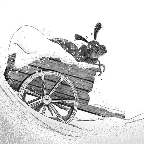 Ashley King Illustration - ashley, king, ashley king, illustrator, fiction, picture book, mass market, young reader, YA, black and white, b&w, digital, commercial, dog, cart, winter, seasonal, festive, snow, snowfall, happy, cute, pet, animal, christmas, wheel, wagon