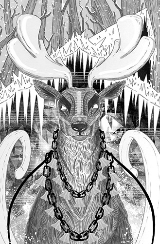 Ashley King Illustration - ashley, king, ashley king, illustrator, fiction, picture book, mass market, young reader, YA, black and white, b&w, digital, commercial, reindeer, deer, angry, ice, icicles, winter, snow, seasonal, festive, snowfall, animal, bells, trees, sleigh, nature,