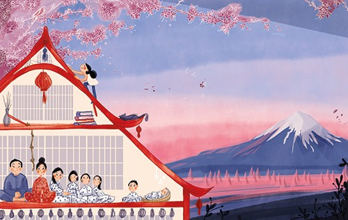 Anna-Lena Kuehler Illustration - anna-lena kühler, illustration, digital, fiction, YA, young reader, photoshop, illustrator, picture book, colour, landscape, mountain, blossom, house, people, cat
