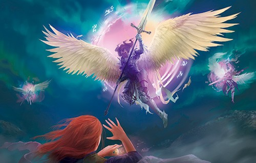 Alba Palacio Illustration - alba palacio, illustration, fine art, colour, colourful, comic, comic book, realistic, texture, painting, art, character, wings, angel, creature, magical, mythical, magic, flying, lightning, clouds, sky, war, fight, fantasy, adventure, sci-fi, harpies, sw