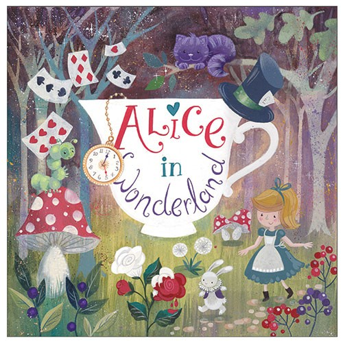 Ally Marie Illustration - ally, marie, ally marie, traditional, watercolour, pencils, colourful, colour, hand drawn, pastel, fantasy, alice, alice in wonderland, classic, book, cover, story, teacup, girl, forest, woods, trees, mushrooms, flowers, nature, rabbit, caterpillar, hat