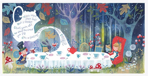 Ally Marie Illustration - ally, marie, ally marie, traditional, watercolour, pencils, colourful, colour, hand drawn, pastel, fantasy, alice, alice in wonderland, classic, book, story, table, girl, man, mad hatter, forest, woods, trees, flowers, nature, cups, tea, teapot, magic