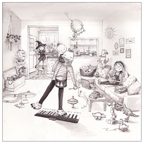 Ally Marie Illustration - ally, marie, ally marie, traditional, watercolour, pencils, black and white, b & w, hand drawn, pastel, digital, sketch, family, house, home, messy, mess, toys, children, kids, dad, drum, playing, witch, kitchen, cooking, pot, sweet, love