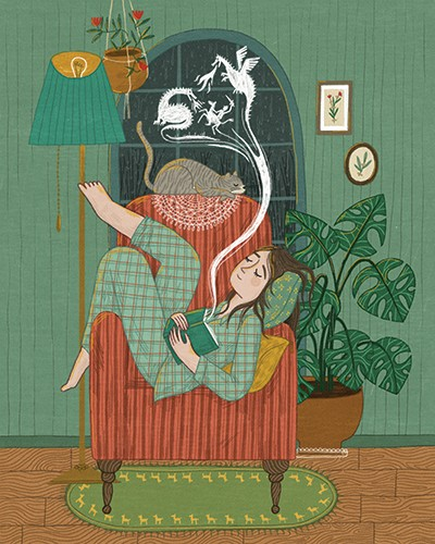 Alona Millgram Illustration - alona millgram, illustrator, digital, painted, traditional, colour, colourful, texture, house, home, girl, woman, character, book, charier eating, asleep, sleeping, dream, dragons, smoke, adventure, medieval, plants, lamp, dream, fantasy,