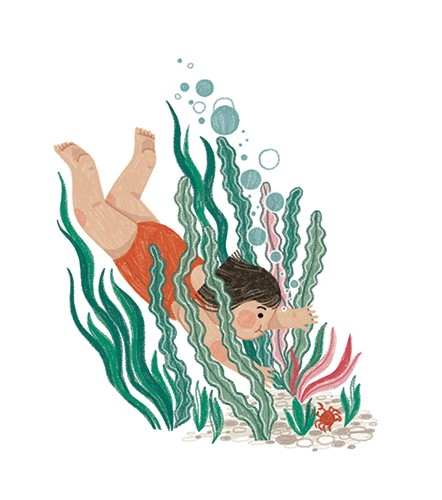 Alona Millgram Illustration - alona millgram, illustrator, digital, painted, traditional, colour, colourful, texture, water, underwater, coral, seaweed, girl, character, diving, swimming, swim, swimmer, crab, animal, ocean, sea, bubbles,