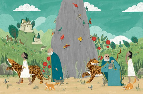 Alona Millgram Illustration - alona millgram, illustrator, digital, painted, traditional, colour, colourful, texture, people, characters, cheetahs, leopards, animals, wild, pets, girl, man, snake, birds, houses, hill, nature, trees, plants, flowers, walking