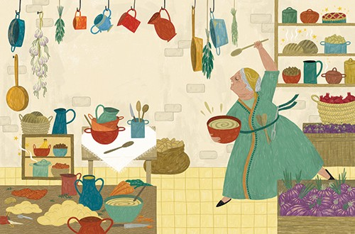 Alona Millgram Illustration - alona millgram, illustrator, digital, painted, traditional, colour, colourful, texture, woman, kitchen, house, home, cook, cooking, pots, pans, bowl, spoon, food, yummy, happy, dancing, singing, pies, flour, ingredients,