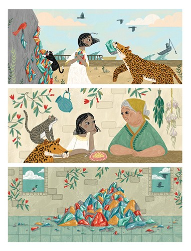 Alona Millgram Illustration - alona millgram, illustrator, digital, painted, traditional, colour, colourful, texture, girl, characters, leopard, animal, cheetah, birds, animals, wild, pet, rocks, woman, grandma, cat, castle, flowers, roses,