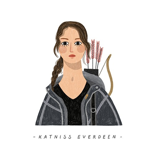 Alona Millgram Illustration - alona millgram, illustrator, digital, painted, traditional, colour, colourful, texture, character, classic, book, story, katniss, the hunger games, girl, Bow, arrows, archer, fighter, heroine, hero