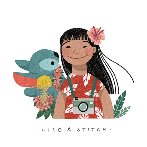 Alona Millgram Illustration - alona millgram, illustrator, digital, painted, traditional, colour, colourful, texture, characters, disney, lilo and stitch, girl, animal, alien, fantasy, love, pet, friendship, friends, dress, flowers, plants, lei, ice cream,