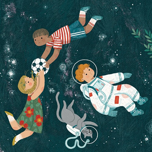 Alona Millgram Illustration - alona millgram, digital, painted, traditional, colour, colourful, texture, space, astronaut, people, characters, kids, children, boys, g girls, football, playing, sport, game, fun, fantasy, stars, plants, flowers, fantasy, fun, cat, pet, helmet, cute, swe