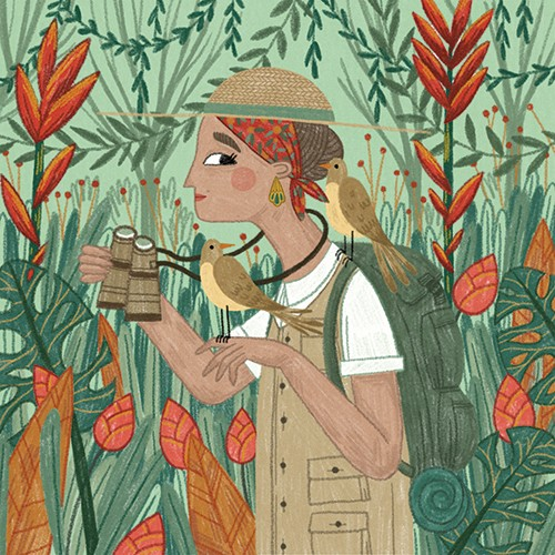 Alona Millgram Illustration - alona millgram, illustrator, digital, painted, traditional, colour, colourful, texture, jungle, woman, character, adventure, journey, wild, nature, trees, leaves, birds, animals, binoculars, hat, explore, explorer,