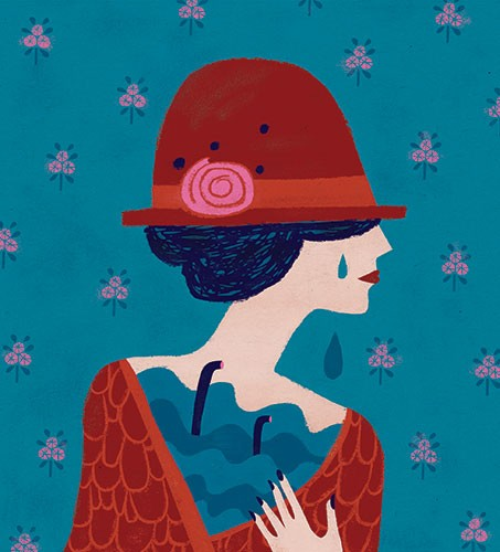 Angela Navarra Illustration - angela, navarra, angela navarra, commercial, editorial, advertising, greetings cards, licensing, design, graphic, stationary, digital, photoshop, textured, illustrator, woman, crying, sad, emotion, hat, tear, pattern, floral, flowers