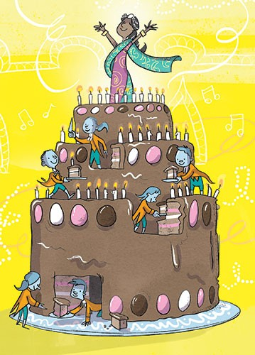 Alex Paterson Illustration - alex paterson, illustration, digital, photoshop, pen, pencil, pencil work, colour, colourful, fiction, young readers, wishing chair adventure, enid blyton, cake, birthday, birthday cake, women, princess, happy, elves, sweets, candy, yummy, candles, happy,