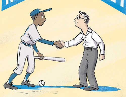 Alex Paterson Illustration - alex paterson, illustration, digital, photoshop, pen, pencil, pencil work, colour, colourful, non-fiction, young readers, historical, sports, baseball, jackie robinson, famous, figure, famous figure, icon, historical figure, famous, handshake, staduim,