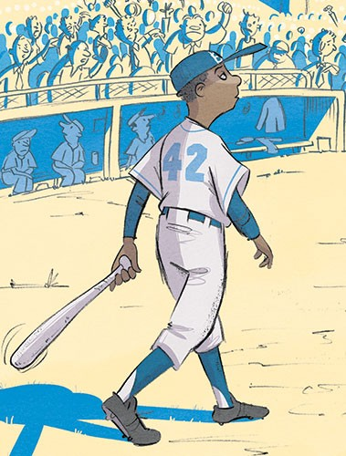 Alex Paterson Illustration - alex paterson, illustration, digital, photoshop, pen, pencil, pencil work, colour, colourful, non-fiction, young readers, historical, sports, baseball, jackie robinson, famous, figure, famous figure, icon, historical figure, famous, bat, walking, staduim,