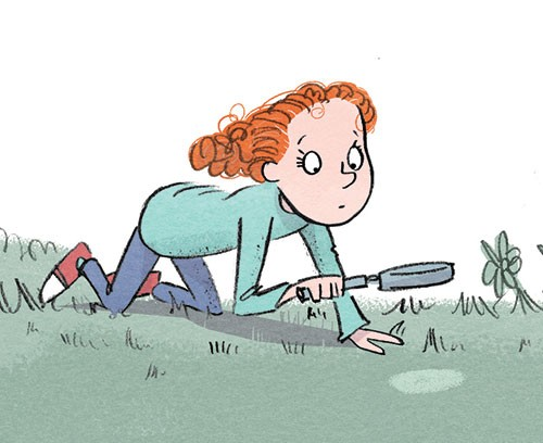 Alex Paterson Illustration - alex paterson, illustration, digital, photoshop, pen, pencil, pencil work, colour, colourful, fiction, young readers, girl, character, grass, exploring, garden, magnifying glass, spyglass, investigating, spy, detective, story,
