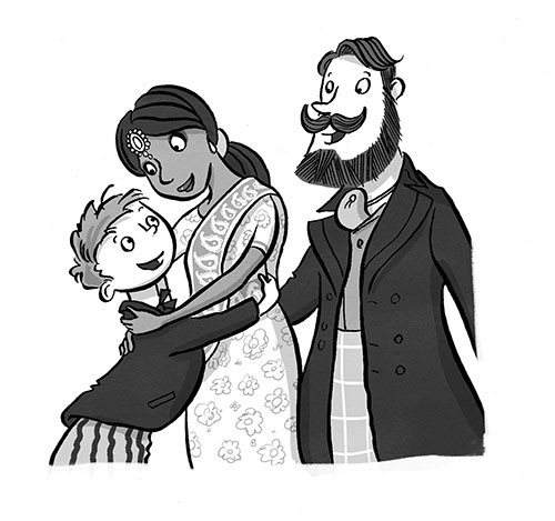 Alex Paterson Illustration - alex, paterson, alex paterson, illustration, digital, photoshop, pen, pencil, pencil work, black and white, b & w, people, boy, child, mother, woman, father, man, family, characters, hug, love, cuddle, sari, pretty, suit, celebration, occasion, smiles,