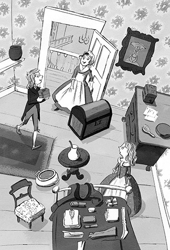 Alex Paterson Illustration - alex, paterson, alex paterson, illustration, digital, photoshop, pen, pencil, pencil work, black and white, b & w, fiction, victorian, house, room, family, maid, women, boy, characters, table, chest, luggage, clothes, packing, adventure, boxes