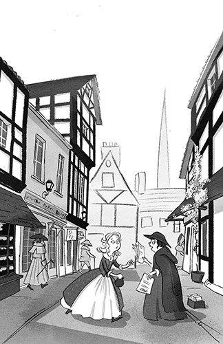 Alex Paterson Illustration - alex, paterson, alex paterson, illustration, digital, photoshop, pen, pencil, pencil work, black and white, b & w, fiction, oliver twist, charles dickens, dickens, classic, story, victorian, town, buildings, women, talking, street, road, newspapers, shops