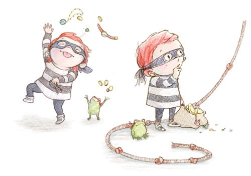Amy Proud Illustration - amy proud, amy, proud, painter, water colour, watercolour, paint, traditional, picture books, fiction, children, boys, girls, burglar, frog, robber, rope, treasure