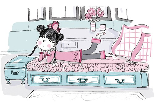 Adriana Puglisi Illustration - adriana puglisi, digital, paint, painted, commercial, educational,sketchy,  photoshop, illustrator, young fiction, editorial, children, people, girls, beds, bedrooms, houses,homes, pink, flowers, vases, thinking, lying,