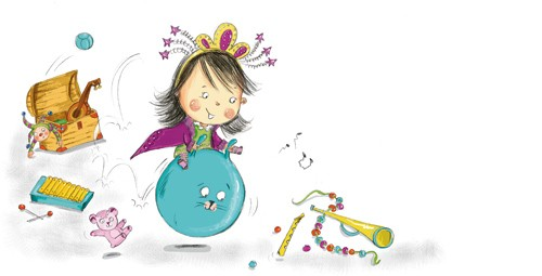 Adriana Puglisi Illustration - adriana puglisi, digital, paint, painted, commercial, educational,sketchy,  photoshop, illustrator, young fiction, editorial, children, people, girls, princesses, madams, naughty, cheeky, playing, bouncing, messy, toys, toy box, musical instruments, teddy
