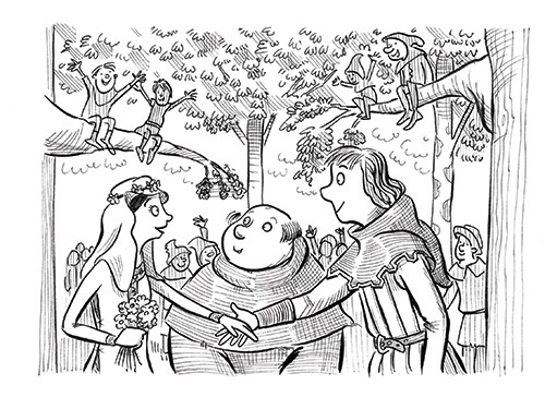 Alex Paterson Illustration - alex paterson, alex, paterson, fiction, educational, ink, pen, digital, black and white, b & w, photoshop, illustrator, robin hood, little john, maid marian, people, characters, book, story, tale, wedding, marriage, woods, trees, happy, occasion, love,