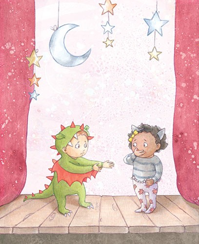 Amy Proud Illustration - amy proud, amy, proud, painter, water colour, digital, watercolour, paint, traditional, picture books, fiction, nursery, school, people, person, child, children, boys, girls, stage, curtains, set, stars, moon, fancy dress, costumes, dinosaur, cat, sad,